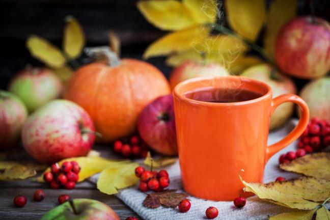 Orange mug on autumn background -fall leaves, apples, pumpkin and rowan-berry